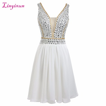 Linyixun Real Photo Vestido de 15 Anos Curto Festa 2017 New Arrived Graduation Prom Dresses Beaded Cocktail Party Dresses