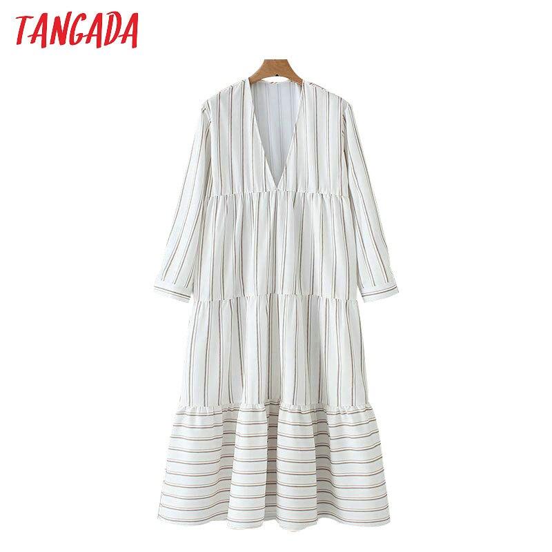 Tangada хлопковое платье платье с воланом широкое платье платье большой размер полосатое платье платье в полоску платье с V-образным вырезом гл...