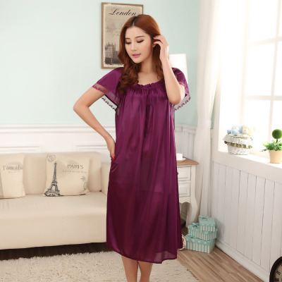 Free shipping Summer viscose sexy nightgown women's short-sleeve plus size maternity 120 kg lace loose sleepwear