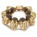 Men's Buddha Charm Bracelet 316L Stainless Steel Gold Plated Bracelets Religious&Lucky Jewelry