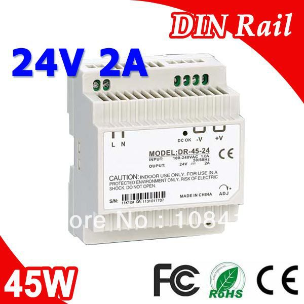 DR-45-24 LED Din Rail mounted Power Supply Transformer 110V 220V AC to DC 24V 2A 45W Output low price switching power supply led din rail mounted power supply transformer 110v 220v ac to dc 5v 12v 15v 24v 48v 45w output