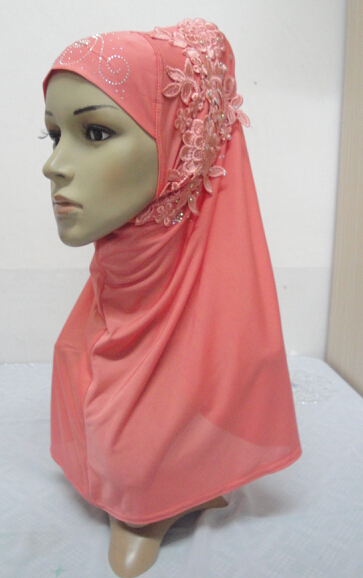 H851 latest muslim one piece hijab with stones fast delivery