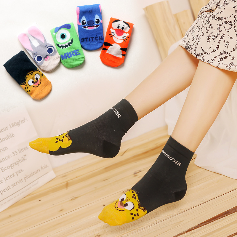 New Cartoon Lovely Ladies Boat Socks Crazed Animal Judy Rabbit Nick Stitch Clawhauser Stitch Mr.Q Tigger Women Sock Kawaii Meias