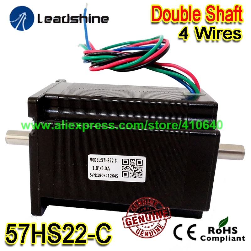 все цены на GENUINE Leadshine NEMA23 Double Shaft Stepper Motor 57HS22-C 8 mm Shaft 5 A 2.2 N.M Torque 81 mm Length 4 Wires Dual Shaft Motor онлайн