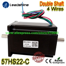 GENUINE Leadshine NEMA23 Double Shaft Stepper Motor 57HS22-C 8 mm Shaft 5 A 2.2 N.M Torque 81 mm Length 4 Wires Dual Shaft Motor leadshine network drives dm3e 556 series ethercat stepper drives with coe and cia 402 protocols control stepper motor nema23 24
