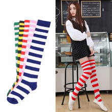 New arrival Women Cotton Winter Autumn Cross Striped Warming THIGH HIGH Knee Socks