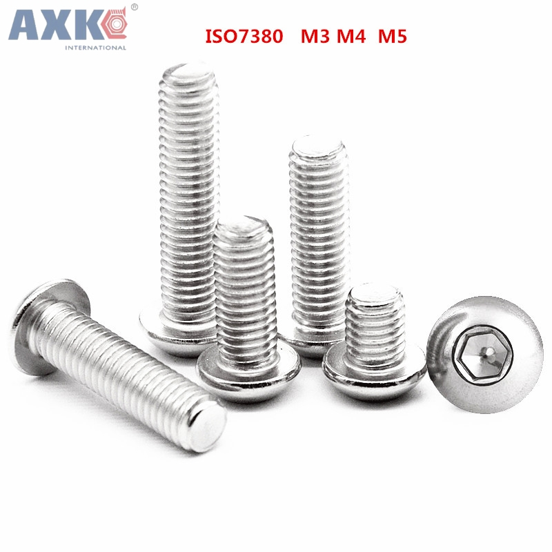 AXK M3 M4 M5 Hexagon socket button head screws 316 stainless steel round head cap screw Mushroom Head Hex Screws 20pcs m4 m5 m6 din912 304 stainless steel hexagon socket head cap screws hex socket bicycle bolts hw003