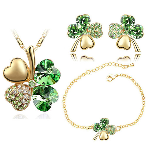 Crystal Clover 4 Leaf leaves heart pendant Jewelry Sets necklace earrings bracelet women lover cute romantic gifts free shipping(China)