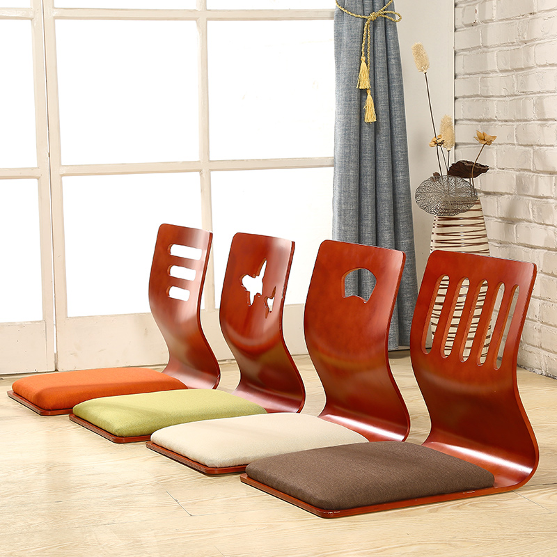 4pcs/lot Japanese Style Tatami Floor ChairThick Cushion Seat Living Room Furniture Asian Floor Zaisu Legless Chair Cherry Finish