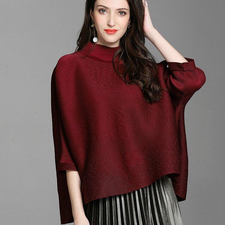 Grande taille T Shirt femmes Stretch Miyake plissé col roulé 2018 automne nouveau lâche solide couleur irrégulière t-shirts pour femmes 45-80 kg