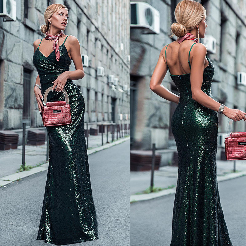 Ever Pretty Prom Dresses Sexy V-Neck Spaghetti Straps Sequins Sleeveless Prom Dresses 2020 Robe De Soiree Long Party Gowns