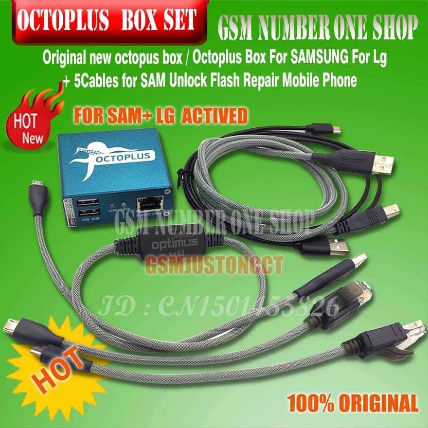 Original nouveau octoplus box octopus boîte 6 dans 1 set (BOÎTE + 5 pc CÂBLE) activé pour LG samsung Déverrouiller Flash Réparation Mobile Téléphone