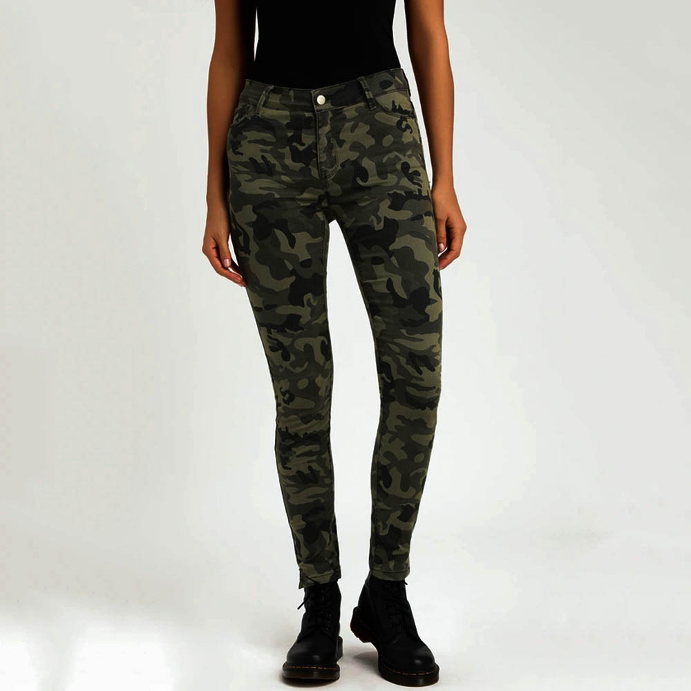 Camouflage Jeans Woman Fashion Mid Waist Slim Denim Skinny Jeans Ladies Vintage Military Pants Women Streetwear Jean Femme H30