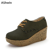 AShwin women wedge platform shoes slipony canvas shoes woman british fashion loafers woman red bottom lace up oxfords 35-40