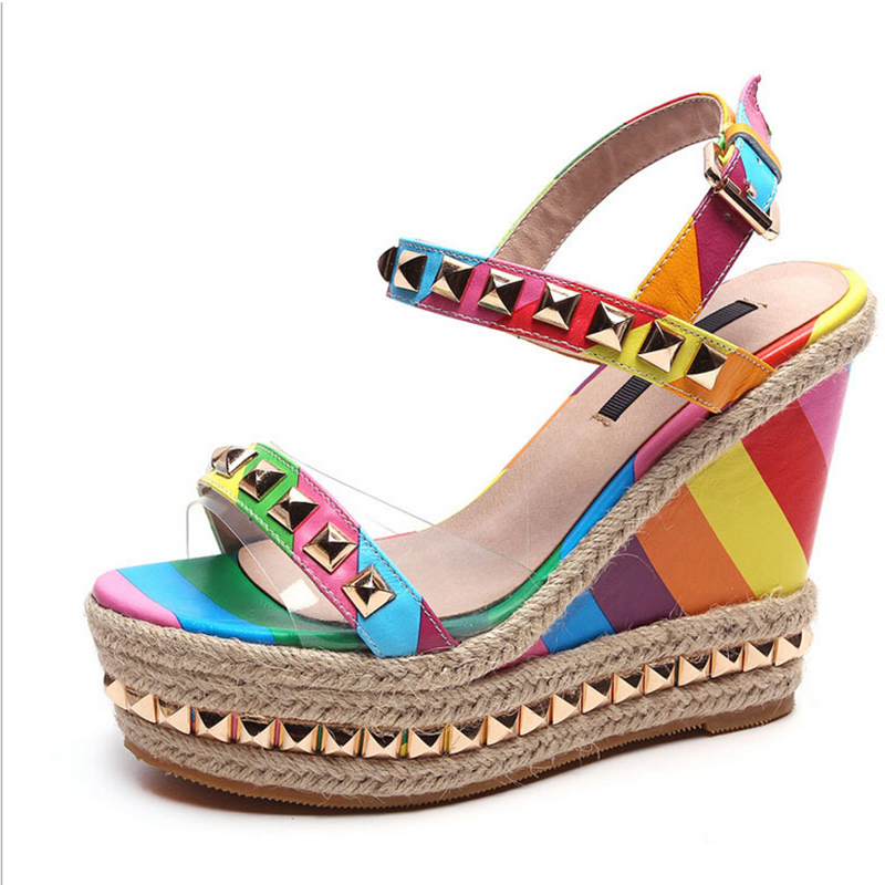 Buckle Rainbow-Shoes High-Heeled-Shoes Leather Sandals Fish-Head Woman New Slope Nice