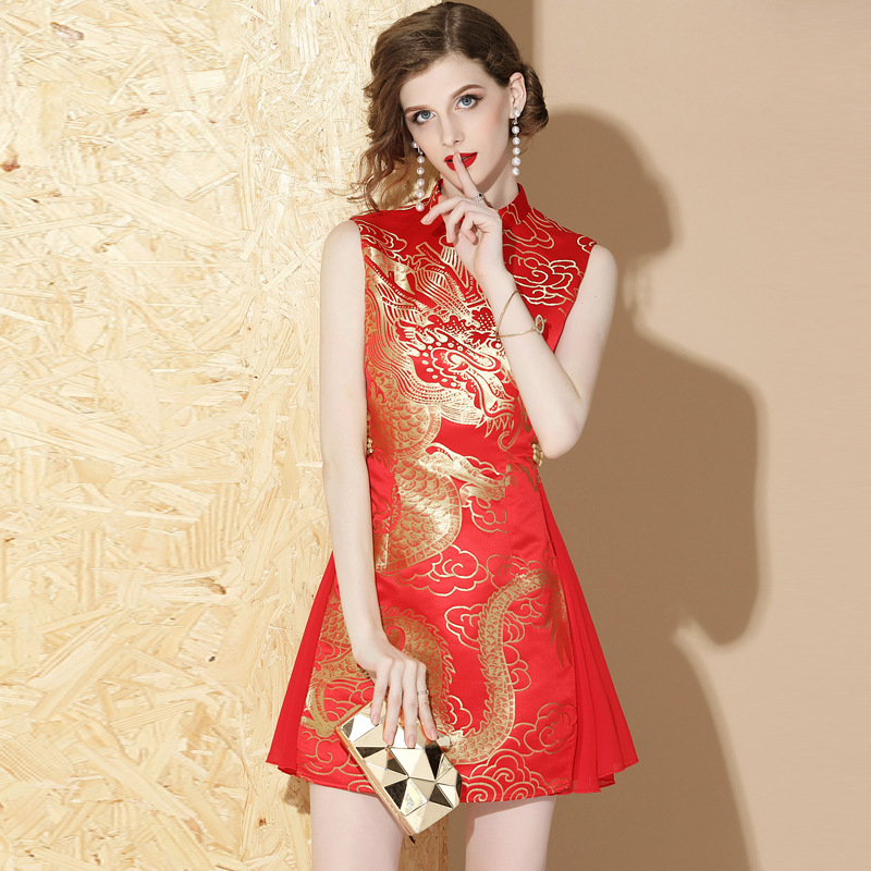 Vintage sleeveless traditional Chinese dragon Cheongsam qipao dresses-in Cheongsams from Novelty & Special Use    3