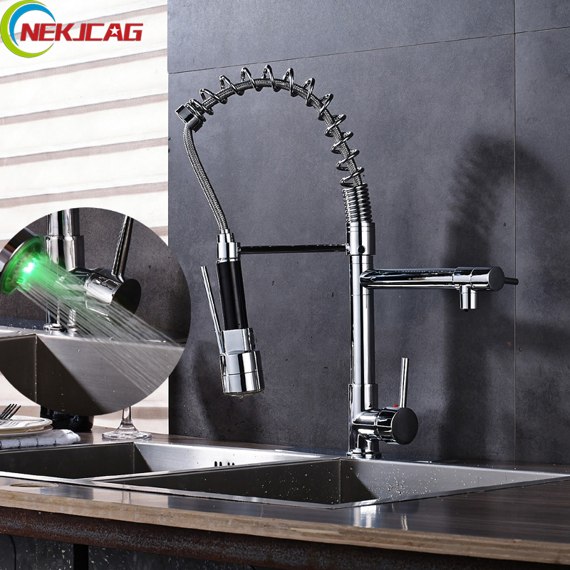 LED Light Chrome Kitchen Faucet Spring Rotation Pull Down