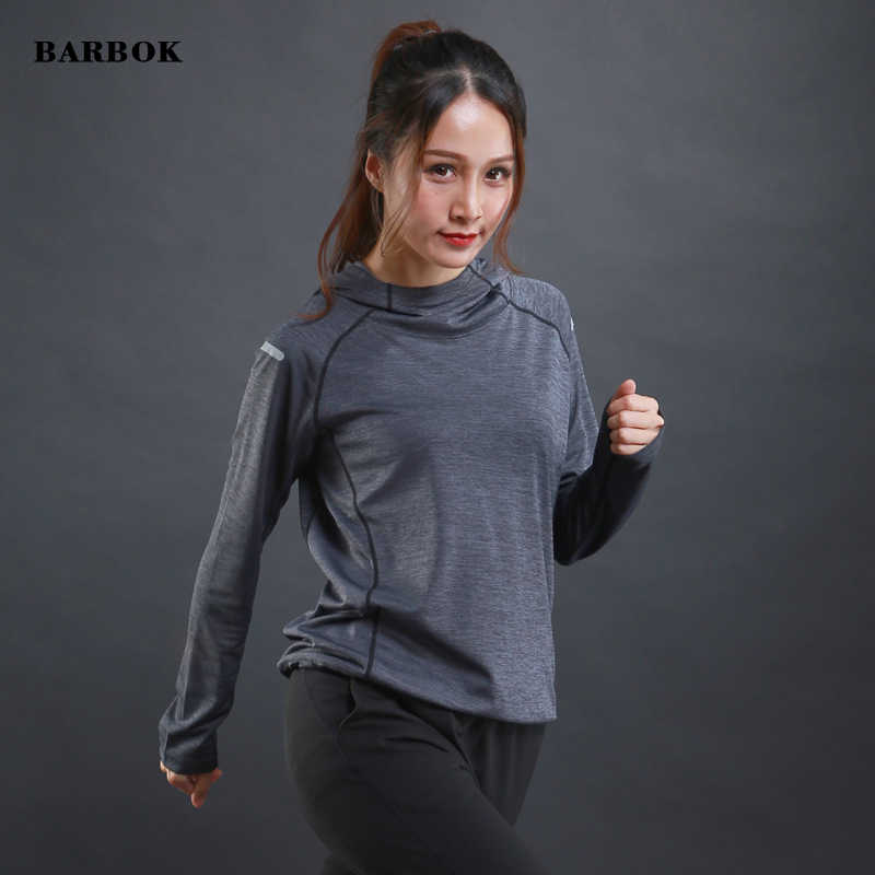 BARBOK נשים של ריצה T חולצות לנשימה חדר כושר כושר ארוך שרוול חולצות ריצה מהיר יבש אימון ג 'רזי רעיוני הוד