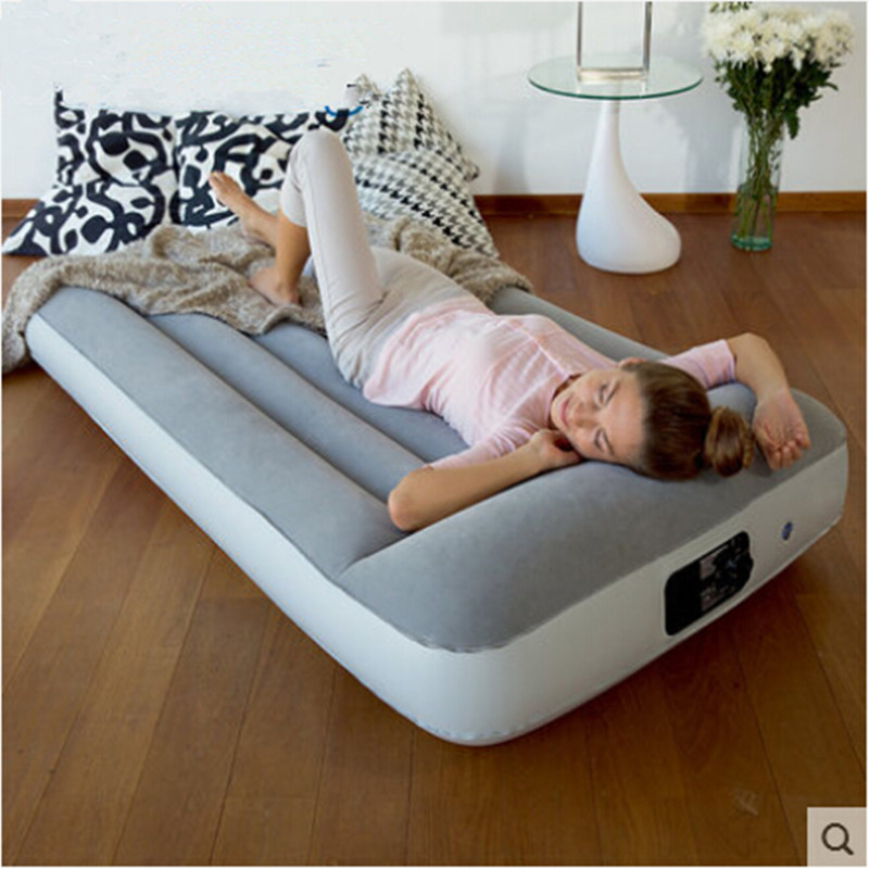 Flocking inflatable mattress Household gas charging bed Portable bed Built in charge pum ...