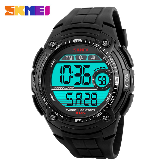 SKMEI Brand Men's Sports Watches Men Multifunction S Shockproof Waterproof LED Digital Watch Student Big Dial Black Wristwatches