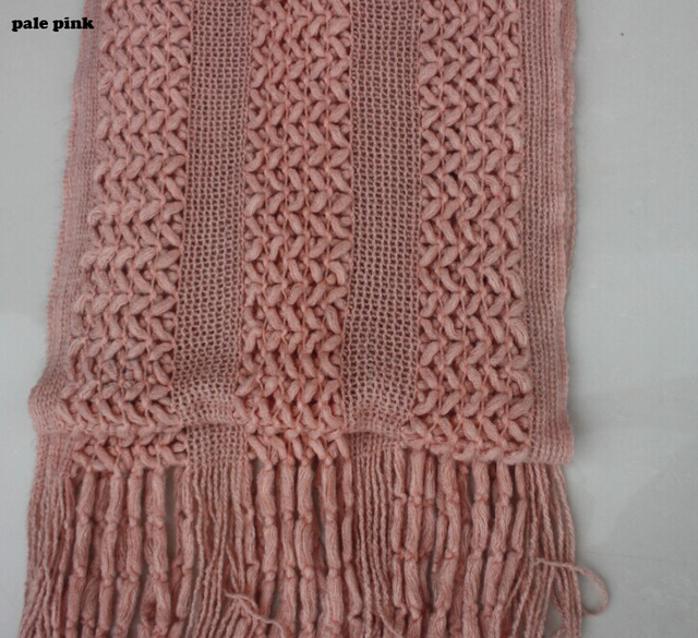 Women Winter Pashmina Hollow Out Crocheted Scarf Solid Color Knitted