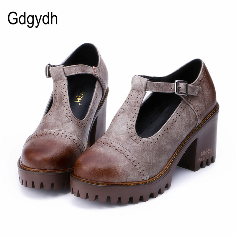 109980b75573 Gdgydh Fashion Leather Women High Heels Pumps Shoes 2017 New Spring ...