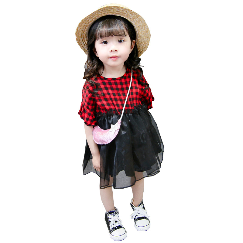 Children's clothing summer kids cotton black and red plaid dress princess short sleeve casual dress fashion girls outwear 18M03