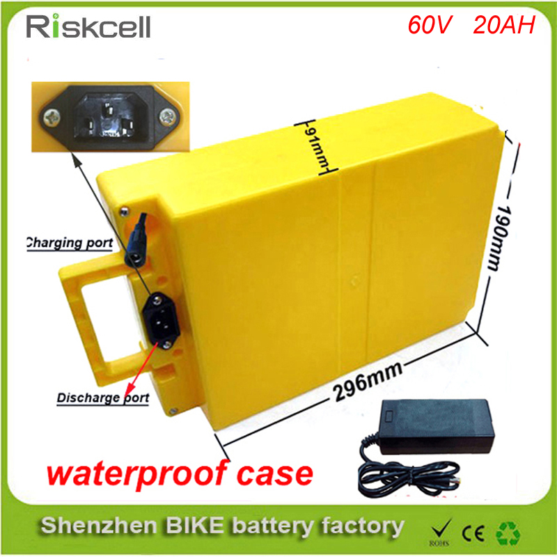60v 20ah electric bike battery pack 60V 2000w ebike lithium battery for solar system/e bike with Charger and Waterproof case free customs taxes and shipping balance scooter home solar system lithium rechargable lifepo4 battery pack 12v 100ah with bms
