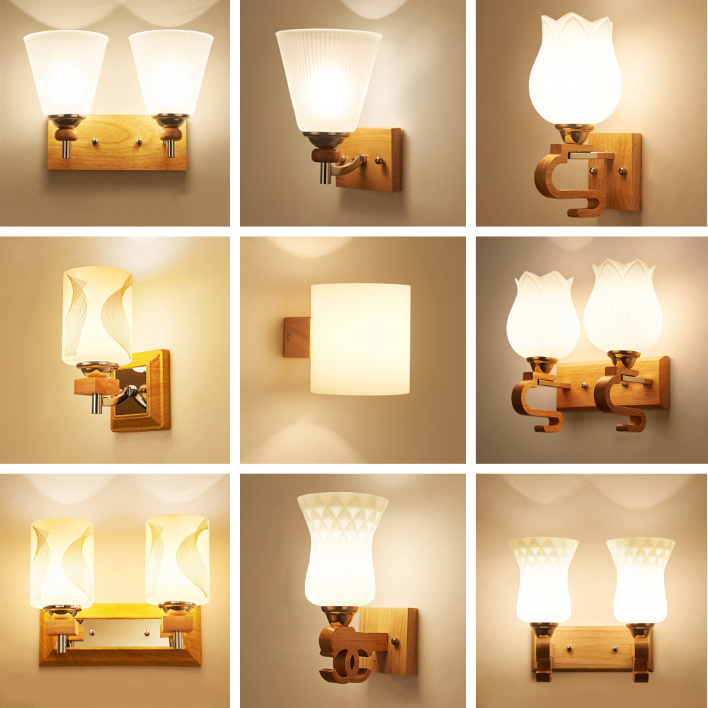 wood wall lamp LED wall mounted bedside reading lamps 110 220v flexible wall light rustic wall