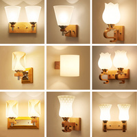 wood wall lamp LED wall mounted bedside reading lamps 110 220v flexible wall light rustic wall sconces E27 luminarias