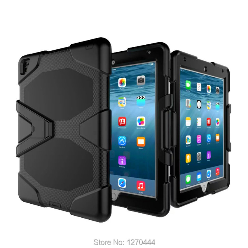 Case for iPad Pro 9.7, 3-Layer Silicone Hybrid Rugged Stand Shockproof Water Repellent Cover for ipad pro case 9.7 2016 tablets