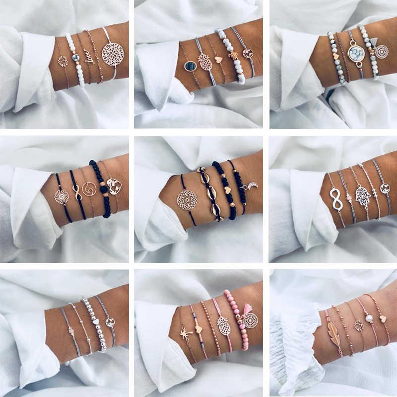 2019 nouveau or rond forme carte perle femmes Bracelet bohème rétro ovale pierre Bracelet fête cadeau chaîne bracelets pour les femmes