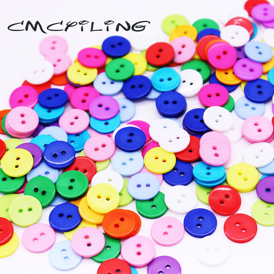 100Pcs Round Resin Buttons for Sewing Apparel Clothing DIY Crafts Decor 2 Holes