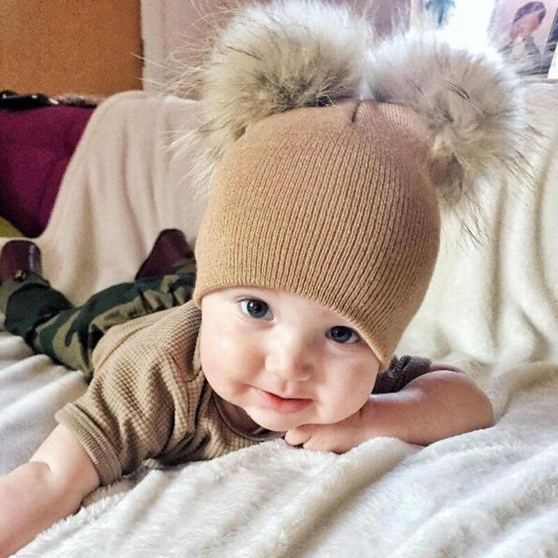 Winter Kids Faux Fur Crochet Hat 2 Plush Balls Baby Toddler Girls Knitted Beanie Children Warm Pom Poms Cap -MX8