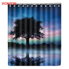 WONZOM Water Tree NIght Shower Curtains with 12 Hooks For Bathroom Decor Modern Bath Waterproof Curtain New Accessories