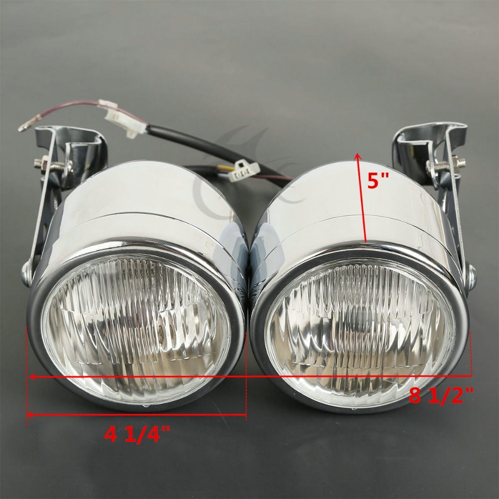 Moto Double Phare Avant lampe W/Support Pour Harley Street Fat Boy Dual Sport Dirt Vélos Street Fighter Nu café Racer - 6