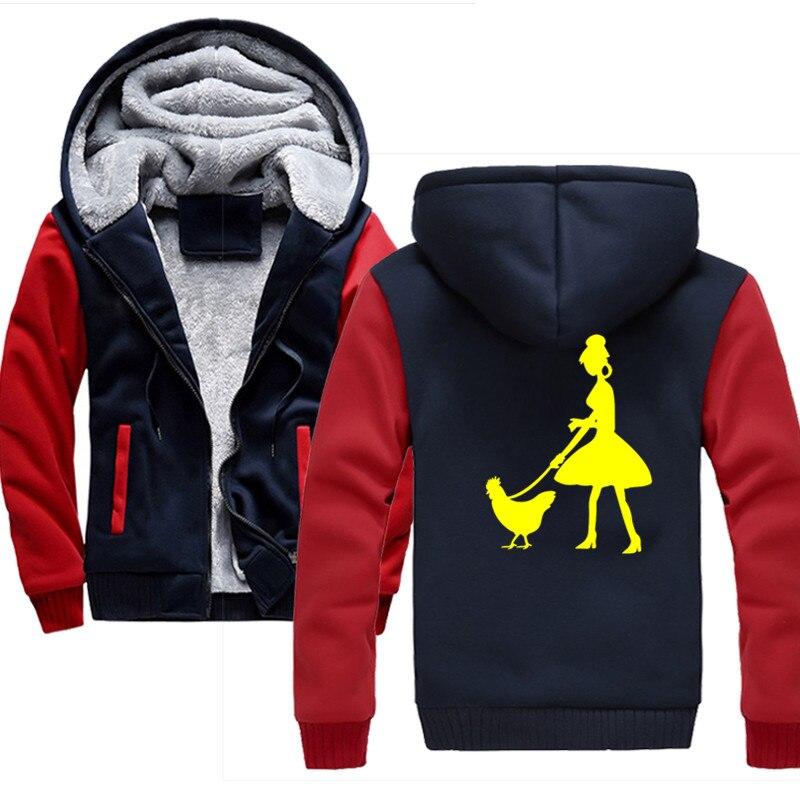 Dame marche son poulet hiver hommes mode épaissir velours décontracté à capuche chaud épais capuche solide Moleton Masculino sweat