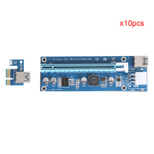 10pcs/set USB 3.0 PCI-E Express 1X to 16X Extender Riser Card Adapter with 60cm/23.6in 6Pin DC-DC Cable for BTC Bitcoin Mining
