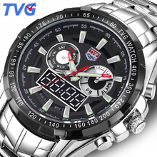 Купить с кэшбэком Top Luxury Brand TVG Sports Watch Full stainless steel men Quartz Wrist Watches Army Military Dual time watch Relogio Masculino
