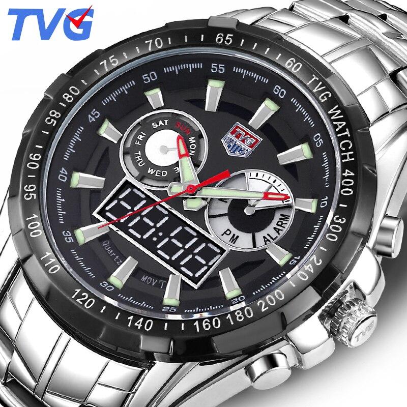 TVG marque de luxe montre à Quartz hommes Sport LED étanche montres analogiques numériques montre-bracelet militaire horloge homme Relogio Masculino