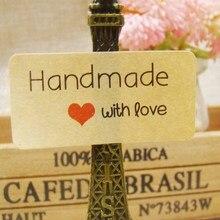 Wholesale 200pcs= 1Lot Size 20*40mm kraft retangular handmade with love Sticker Label Hand Made Sticker CUstom Logo Cost Extra
