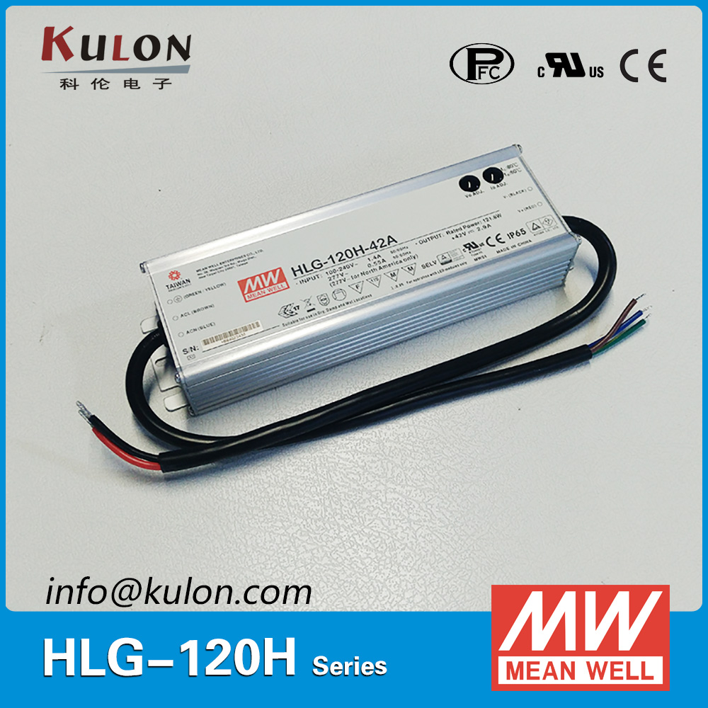 Original MEAN WELL HLG-120H-42A LED driver Single Output 120W 42V 2.9A IP65 meanwell switch mode Power Supply