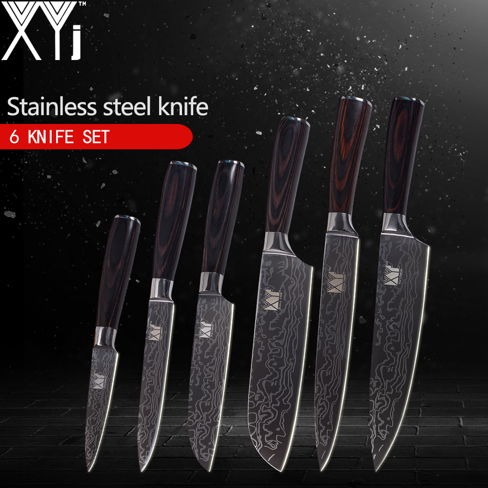 XYj Stainless Steel Kitchen Knives 6pcs Handmade Cooking Tools 3 5 5 5 7 8 8