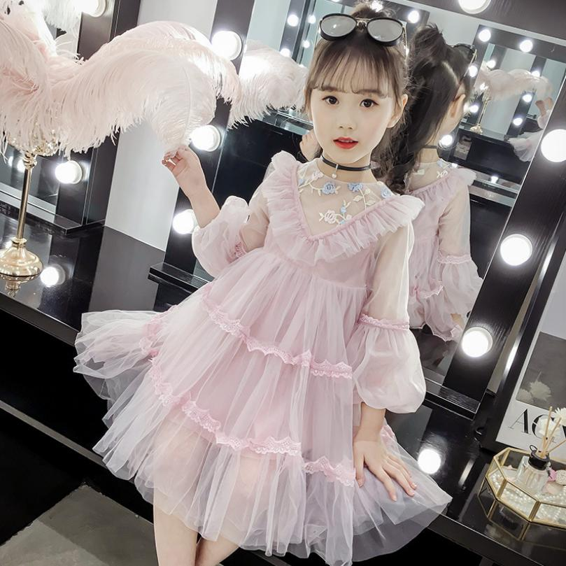 2019 Summer Baby Girl Lantern Sleeve Ruffles Princess Dress Cute Solid Kids Dresses for Girls Party Dress Children Clothing Y7512019 Summer Baby Girl Lantern Sleeve Ruffles Princess Dress Cute Solid Kids Dresses for Girls Party Dress Children Clothing Y751