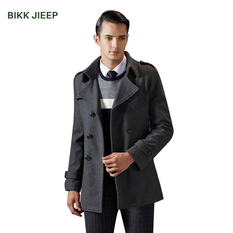 Winter Men Wool Coat Slim Fit Wool & Blends Autumn Solid Brand Clothing Jacket Men Pea Coat Warm Plaid 3 Color Mens Long Coat