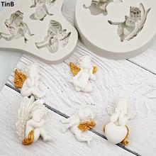 Moule 3D en Silicone ange bébé Fondant, outils de décoration de gâteaux, chocolat, pâte à modeler, accessoires de cuisine, Sugarcraft