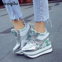 platform Shoes Woman Breathable Height Increasing Women Shoes Lace-Up Wedges Platform Sneakers Woman Casual Shoes woman sneakers metallic color woman shoes front lace up woman casual shoes low top rivets embellished platform woman flats brand
