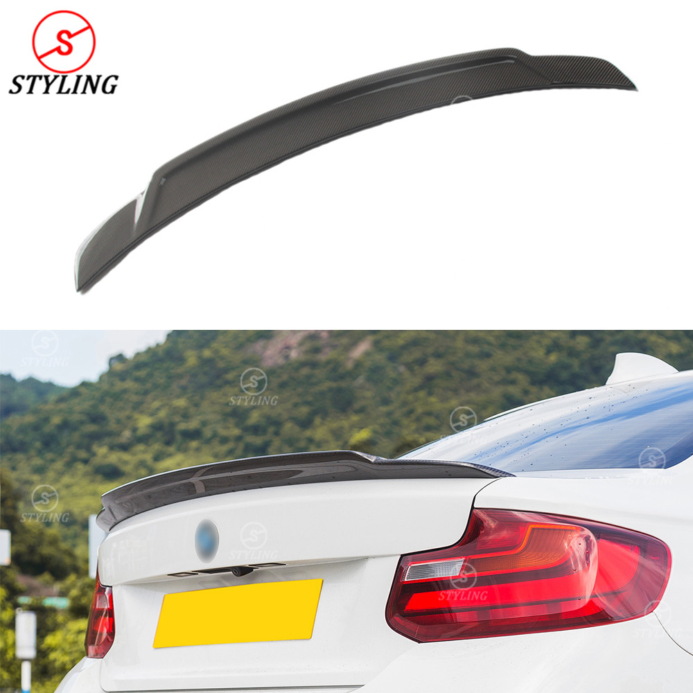 For BMW F22 Carbon Fiber Spoiler E Style 2 series F22 F23 & M series F87 M2 Carbon Fiber Rear trunk wing rear spoiler 2014 -UP carbon fiber car rear bumper extension lip spoiler diffuser for bmw x6 e71 e72 2008 2014 xdrive 35i 50i black frp