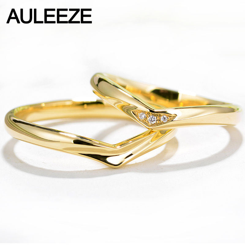 AULEEZE His & Hers Lovers Wedding Engagement Rings Real Diamond 18K Solid Yellow Gold Couple Ring Band Women Men Fine Jewelry