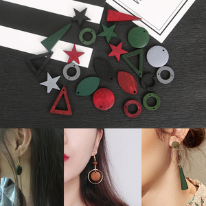 DIY Wooden Geometric Pendants Eardrop Charms Homemade Jewelry Accessories For Earring Necklace Jewelry Components(China)